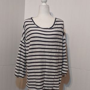 New Directions Women's Black/White Striped Top 1X